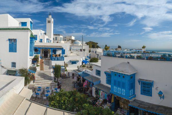 Beautiful view of Sidi Bou Said, touristic place near Tunis, Tunisia